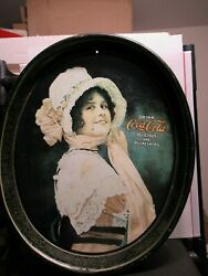 1914 Betty Girl Drink Coca-cola Metal Oval Serving Tray, Printed In 1972