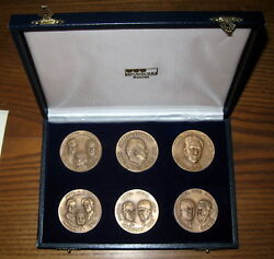 Nobel Prize Laureates 1975 Set Of Six Bronze Medals. Limited Edition 12 Of 900