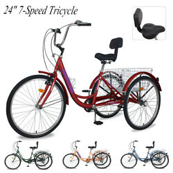 24 7 Speed Adult Tricycle 3 Wheel Bike Trike W/ Basket And Backrest For Shopping
