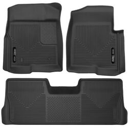 Set-h2153311 Husky Liners Floor Mats Front New Black For F150 Truck Ford F-150