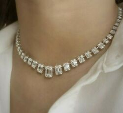 Solid 925 Sterling Silver Graduating Emerald Tennis Necklace Bridal Jewelry