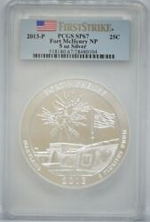 2013-p Fort Mchenry 5 Oz. Silver Round America The Beautiful | Pcgs Sp67