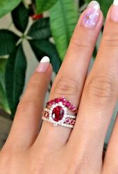 Christmas 0.90ct Natural Round Diamond 14k Solid Yellow Gold Ruby Wedding Ring