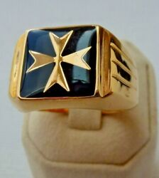 9kt 9ct Yellow Gold Maltese Cross Hollow Square Ring Black Enamel Knights Of Mal