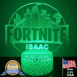 Fortnite City Acrylic Night Light Personalized Gaming Led Lamp Base With Remote
