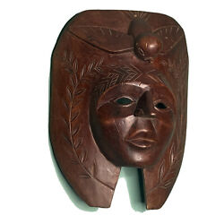 """Vintage Hand Carved Guatemala Mayan Chief Mask With Quetzal Bird Wreath 14"""" Tall"""