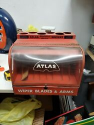 Nos - 1960's Atlas Wiper Blades Service Station Display Cabinet - Gas And Oil