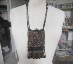 Beaded Necklace Medicine Bag Pouch Purse With Tassels Black Brown Bronze Copper