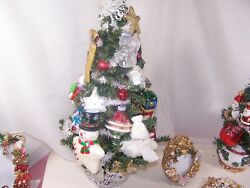 19h Decorated Snowman Table Top Christmas Tree Many Vintage Ornaments No Lights
