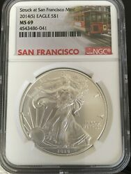 2014 S Silver Eagle Ngc Mint State Ms 69 Trolley Label
