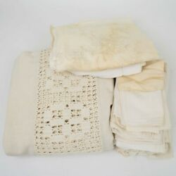 Mixed Vintage Lot Of 29 Cutter Craft Table Linens Napkins Runners Crocheted