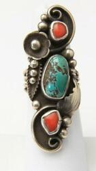 Vintage Navajo Sterling Silver Turquoise And Coral Long Ring Southwestern Sz 6.5