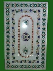 30 X 48 Inches Kitchen Table Top Marble Living Room Table With Marquetry Art