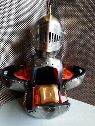 Used ,medieval Metal Armor Souvenir, Bottle And Glass