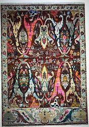 8x10 Hand Knotted Fine Wool Oriental Area Rug Red Color 1/2'pile
