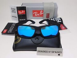 Ray Ban Justin RB4165 622 55 54mm Matte Black Blue Mirror Polarized Sunglasses $64.75