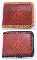 Masonic Hand Tooled Handcrafted Leather Wallet Billfold Brown Free Mason New