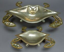 Set Of 2 Mid Century Modern Abalone,, Silver Overlay ,copper, Crab Dishes