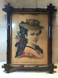 Antique Lithograph Beauty Of The Atlantic Lady Framed Adirondack Frame