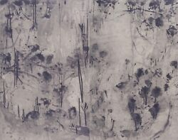 David Rankin Hillside At Night I - Signed Diptych Etching Abstract Zen Landscape