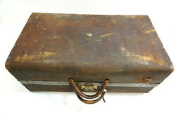 Antique Leather Coach Suitcase With Eagle And Skeleton Key Lock 22 Long Old