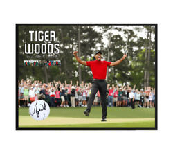 Tiger Woods Signed And Framed Us Masters Golf Ball 5x Champion The Master