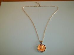 One 1 Cent Coin - U.s.a. Penny - Silver Cased Pendant Necklace - 1916 To 1982