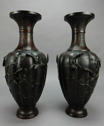 Pair Of Large Antique Japanese Bronze Vases Artist Signed 18 Inches