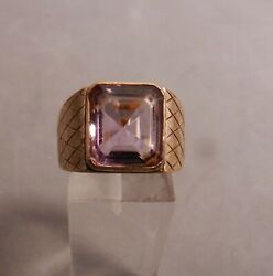 Vintage 18k Solid Yellow Gold And Purple Amethyst Ringsize 7.5 8gr