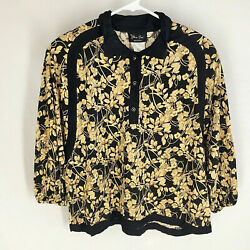 Vtg Diane Freis Jacket Top Size Small 80and039s Shoulder Pads Floral Womens Vintage S