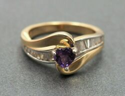 Womens Ring 14ct Gold And Rhodium Plated Heart Shaped Amethyst And Diamond Vintage