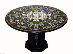 Black Marble Center Table Top With Stand Pietra Dura Inlay Mosaic Decor H3360