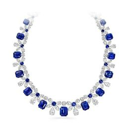 Blue Emerald 925 Sterling Silver White Pear And Marquise Wedding Fine Necklace