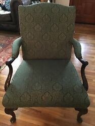 Antique Queen Anne Style High Back Arm Chair