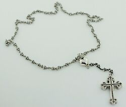 Queen Baby Small Black Diamond Cross And Crowned Heart Fleur De Lis Necklace