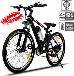 Upgraded Electric Mountain Bike 500w 26and039and039 Ebike Removable Lithium-ion Battery