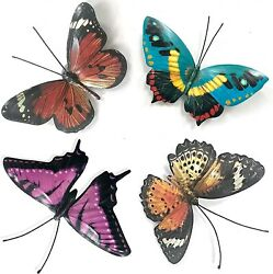 Metal Butterfly Wall Decor Garden Hanging Deck Office Yard Porch Fence Set Of 4