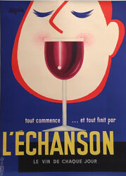 Original Vintage French Wine Advertising Poster And039landrsquoechansonand039 By Seguin 1955
