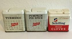 Vtg Lot Of 3 Metal Spice Tins French's Schilling Pumpkin Pie Turmeric Cloves