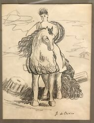 Stunning Horse And Rider, Georgio De Chirico, Italian Well Listed, Signed Pencil