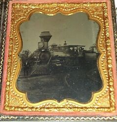 Outdoor Tintype Locomotive Railroad Train Coal Car Rr Conductor Workers.