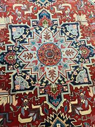Estate Sale Handwoven100 Pure Wool Tabrize Rug Size 4x7and039 Red