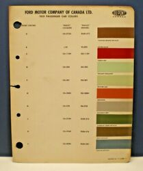 1959 FORD CANADA PASSENGER CAR COLORS DUPONT CANADA PAINT CHIP SAMPLES CHART