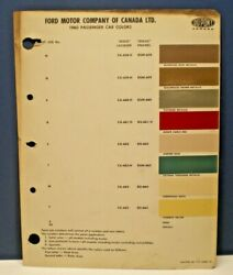 1960 FORD CANADA PASSENGER CAR COLORS DUPONT CANADA PAINT CHIP SAMPLES CHART