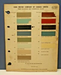 1963 FORD CANADA PASSENGER CAR COLORS DUPONT CANADA PAINT CHIP SAMPLES CHART