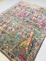 Hand Knotted Fine Wool Tribal Oriental Rug Gray/ Blue/pink /green 8x10