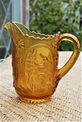 Vintage Imperial Amber Colored Glass Windmill Water Pitcher