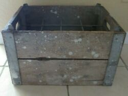 Antique Wood And Metal Milk Bottle Crate Carrier - 12 Sections
