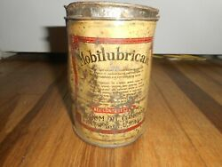 Vintage Mobil Mobilubrication Oil Grease Socony Vacuum Advertising Tin Can