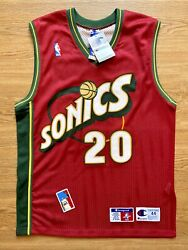 Gary Payton Seattle Supersonics Size 44 Champion Authentic Jersey Nwt Deadstock